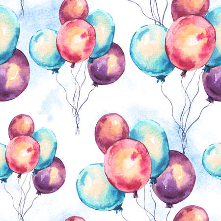 Watercolor Colorful Air Balloons Seamless Pattern. Hand Drawn Illustration on White Background. Wedding Design Collection
