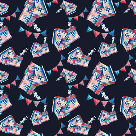 Watercolor cute house seamless pattern. Hand drawn sweet home illustration on black background. Vintage design collection
