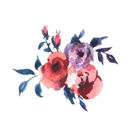Vintage Watercolor Bouquet of Roses and Wildflowers, Watercolor Illustration Isolated on White Background. Bohemian Design Collection Reklamní fotografie