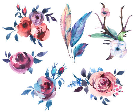 Vintage Watercolor Set of Bouquet of Roses, Anemones, Feathers, Horns and Wildflowers, Watercolor Illustration Isolated on White Background. Bohemian Design Collection