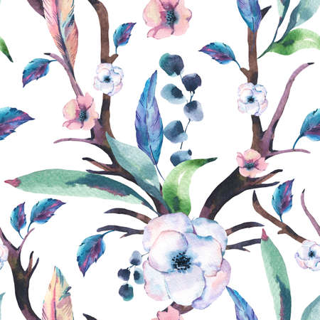 Vintage Watercolor Seamless Pattern of Anemones, Feathers, Horns and Wildflowers, Watercolor Illustration on White Background. Bohemian Design Collection