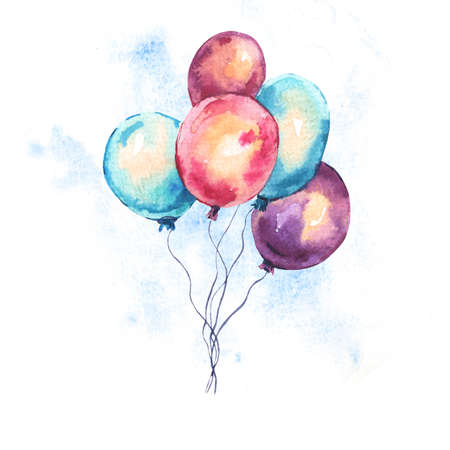 Watercolor Colorful Air Balloons Greeting Card. Hand Drawn Illustration Isolated on White Background. Party Design Collection