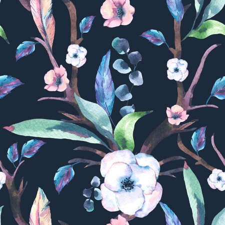 Vintage Watercolor Seamless Pattern of Anemones, Feathers, Horns and Wildflowers, Watercolor Illustration on Black Background. Bohemian Design Collection