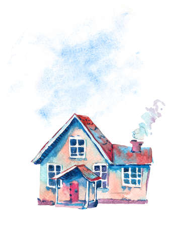Watercolor cute house. Hand drawn sweet home greeting card isolated on white background. Vintage design collection Reklamní fotografie