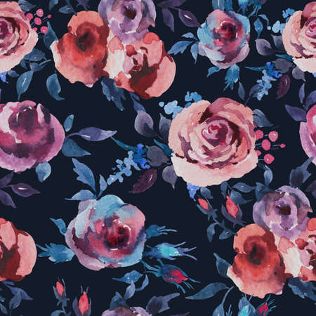 Vintage Watercolor Seamless Pattern of Roses, Anemones, Feathers, Horns and Wildflowers, Watercolor Illustration on Black Background. Bohemian Design Collection