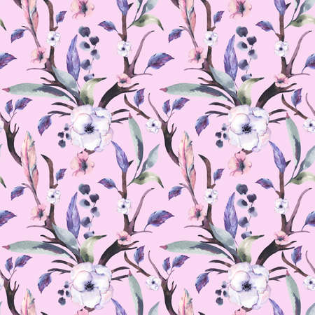 Vintage Watercolor Seamless Pattern of Anemones, Feathers, Horns and Wildflowers, Watercolor Illustration on Pink Background. Bohemian Design Collection