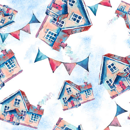 Watercolor cute house seamless pattern. Hand drawn sweet home illustration on white background. Vintage design collection