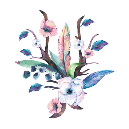 Vintage Watercolor Bouquet of Anemones, Feathers, Horns and Wildflowers, Watercolor Illustration Isolated on White Background. Bohemian Design Collection