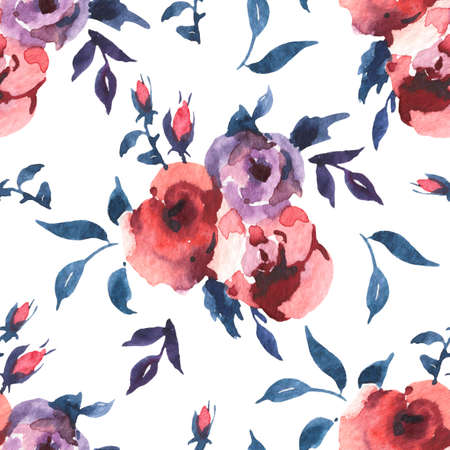 Vintage Watercolor Seamless Pattern of Roses and Wildflowers, Watercolor Illustration on White Background. Bohemian Design Collection