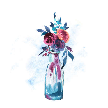 Watercolor Hand painted bottle with red roses isolated on white background. Boho chic style illustrations, natural greeting card.
