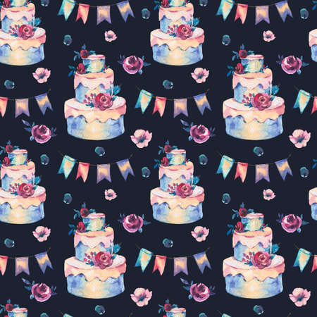 Watercolor Fantasy Seamless Pattern with Wedding Cake, Red Roses and Party Garlands. Hand Drawn Bakery Illustration on Black Background. Party design collection Reklamní fotografie