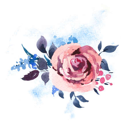 Vintage Watercolor Roses, Wildflowers and Berries. Watercolor Illustration Isolated on White Background. Bohemian Design Collection Reklamní fotografie