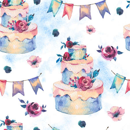 Watercolor Fantasy Seamless Pattern with Wedding Cake, Red Roses and Party Garlands. Hand Drawn Bakery Illustration on White Background. Party design collection