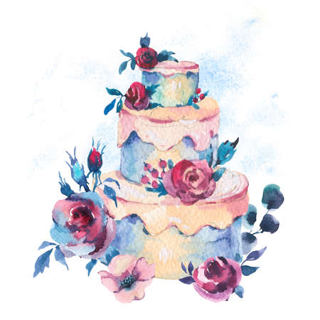 Watercolor Fantasy Wedding Cake with Red Roses. Hand Drawn Bakery Illustration Isolated on White Background. Party design collection Reklamní fotografie