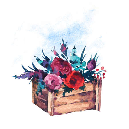 Watercolor hand painted  wooden box with flowers, red roses, wildflowers isolated on white background. Boho chic style illustrations, natural greeting card. Reklamní fotografie