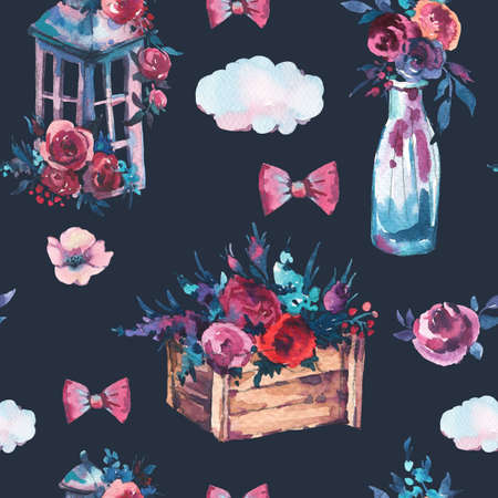 Watercolor seamless pattern of bottle with red rose, shabby lantern, flowers wooden box on white background. Boho chic style illustration