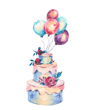 Watercolor Fantasy Wedding Cake with Red Roses, Air Balloons. Hand Drawn Bakery Illustration Isolated on White Background. Party design collection