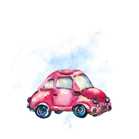Watercolor greeting card with cute red retro car, vintage illustration isolated on white background Reklamní fotografie