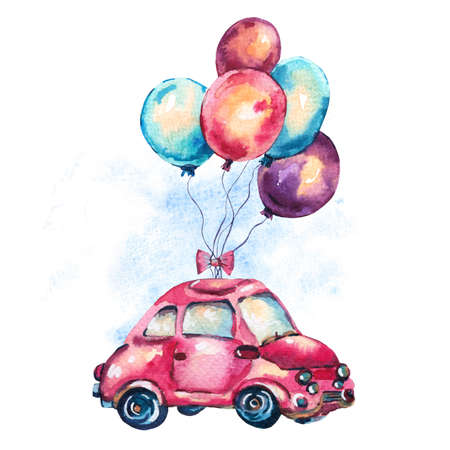 Watercolor fantasy greeting card with cute red retro car and air balloons, vintage illustration on white background