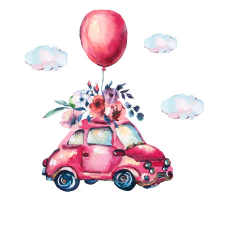 Watercolor fantasy greeting card with cute red retro car, flowers, roses and air balloons in the clouds, vintage illustration isolated on white background