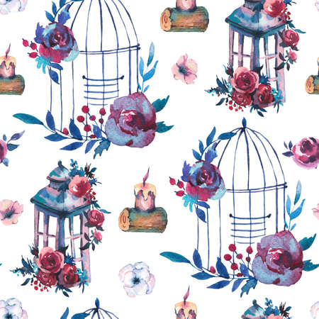 Cute watercolor natural floral seamless pattern with red rose, wildflowers, berries, leaves, candle and cage, botanical vintage illustration in kinfolk style on white background