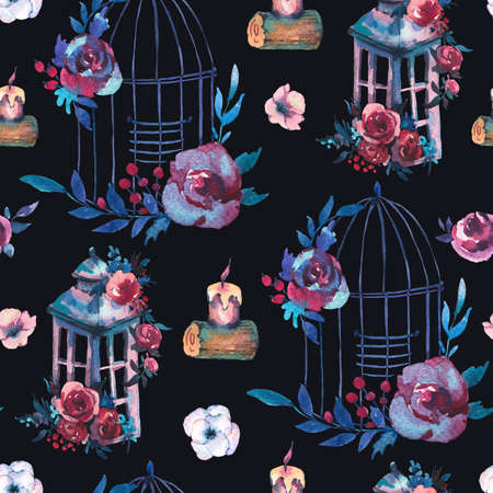 Cute watercolor natural floral seamless pattern with red rose, wildflowers, berries, leaves, candle and cage, botanical vintage illustration in kinfolk style on black background Reklamní fotografie