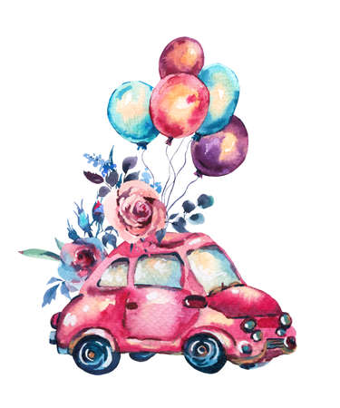 Watercolor fantasy greeting card with cute red retro car, flowers, roses and air balloons, vintage illustration isolated on white background Reklamní fotografie