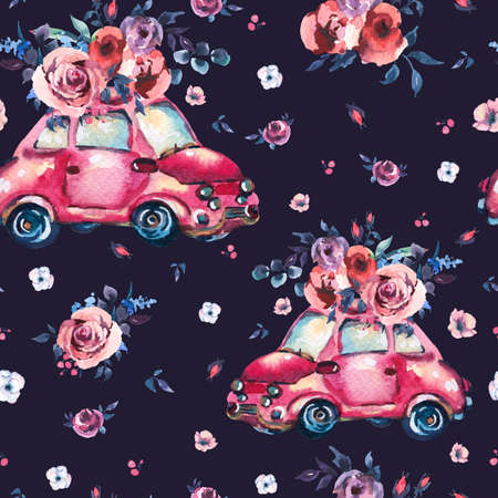 Watercolor fantasy seamless pattern with cute red retro car, wild flowers and roses, vintage illustration on black background