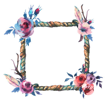 Watercolor floral rustic rope wreath isolated on white background. Party hand drawn floral design frame