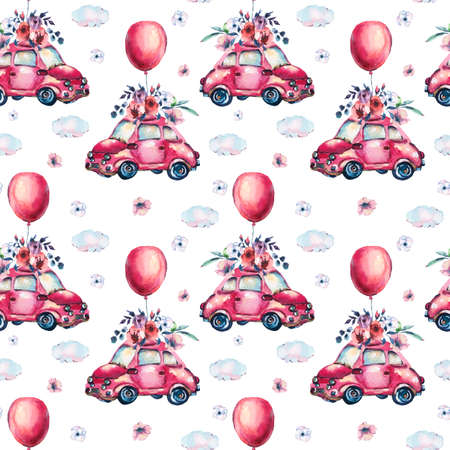 Watercolor fantasy greeting card with cute red retro car, flowers, roses, air balloons in the clouds,   vintage illustration on white background
