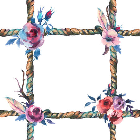 Watercolor floral rustic rope seamless pattern on white background. Roses, flowers and feathers. Hand drawn floral illustration