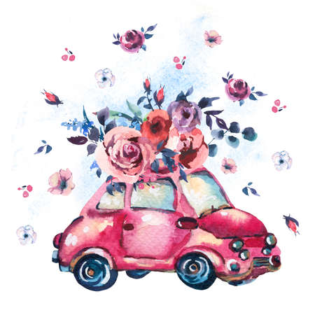 Watercolor fantasy greeting card with cute red retro car, wild flowers and roses, vintage illustration isolated on white background
