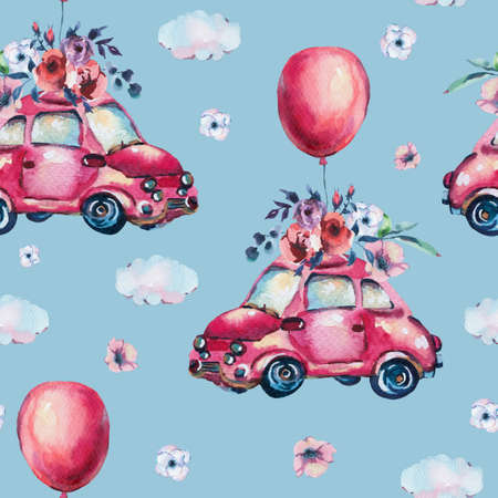 Watercolor fantasy greeting card with cute red retro car, flowers, roses, air balloons in the clouds,   vintage illustration isolated on blue background Reklamní fotografie - 119685265