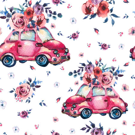 Watercolor fantasy seamless pattern with cute red retro car, wild flowers and roses, vintage illustration on white background Reklamní fotografie