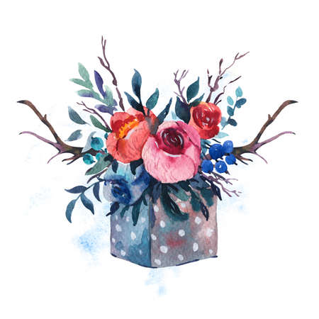 Watercolor hand painted  wooden box with flowers, red roses, wildflowers berries, horns isolated on white background. Boho chic style illustrations, natural greeting card. Reklamní fotografie