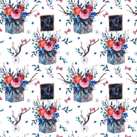 Watercolor seamless pattern with wooden box with flowers, red roses, wildflowers berries, horns on white background. Boho chic floral wallpaper. Reklamní fotografie