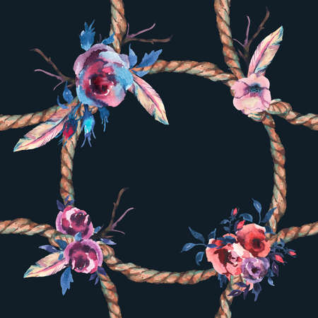Watercolor floral rustic rope seamless pattern on black background. Roses, Flowers and hand drawn floral illustration