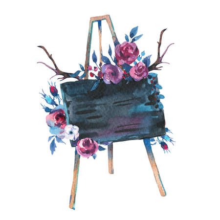 Watercolor Hand Drawn Rustic Easel with Chalk Board and Flowers Isolated on White Background. Floral Decor Design Collection