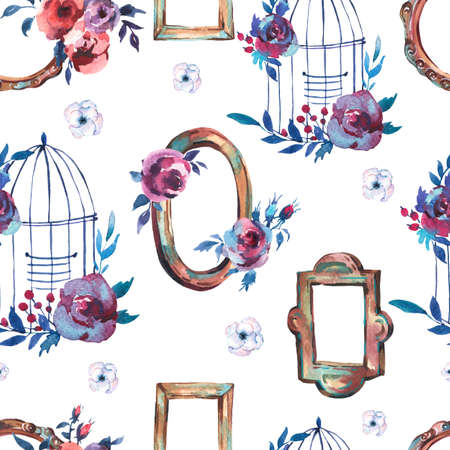 Watercolor Seamless Pattern with Antique Golden Wooden Frame, Flowers, Cage Hand Painted Vintage Illustration on White Background. Floral Design Collection Reklamní fotografie