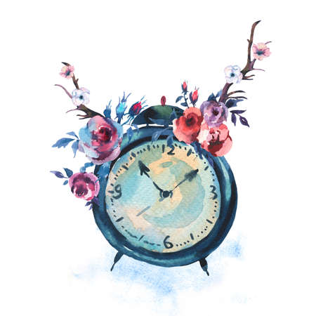 Watercolor Vintage Greeting Card with Alarm Clock, Flowers in Bohemian Style isolated on white background, Floral Decor Design Collection Reklamní fotografie