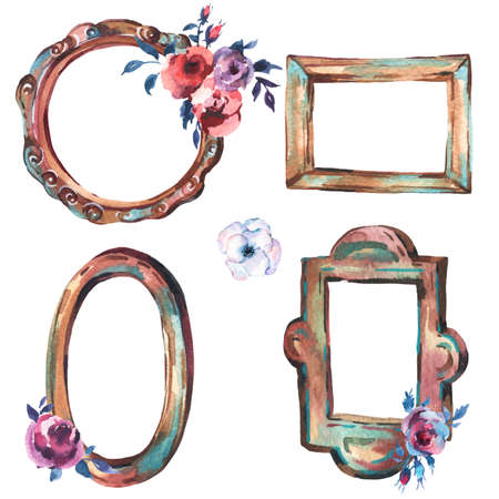 Watercolor Set of Antique Golden Wooden Frame with Flowers, Hand Painted Vintage Illustration isolated on White Background. Floral Design Collection