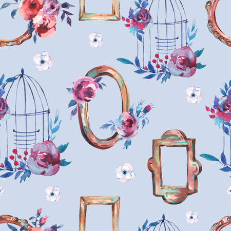 Watercolor Seamless Pattern with Antique Golden Wooden Frame, Flowers, Cage, Hand Painted Vintage Illustration on Blue Background. Floral Design Collection
