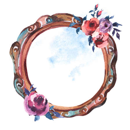 Watercolor Antique Wooden Frame with Flowers, Hand Painted Vintage Illustration isolated on White Background. Floral Design Collection