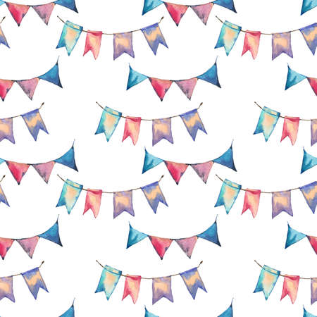 Watercolor seamless abstract pattern with colorful party garlands and flags on white background, hand painted illustration