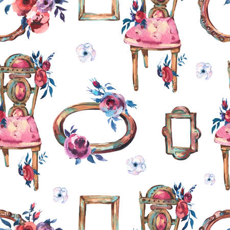 Watercolor Seamless Pattern with Antique Golden Wooden Frame, Flowers, Chair, Hand Painted Vintage Illustration on White Background. Floral Design Collection