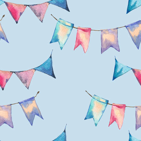 Watercolor seamless abstract pattern with colorful party garlands and flags on blue background, hand painted illustration