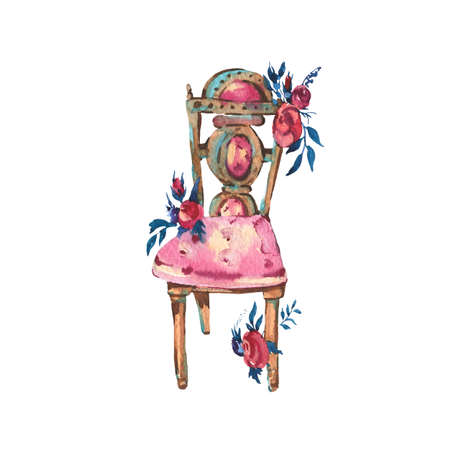 Watercolor Antique Chair with Flowers, Hand Painted Vintage Illustration isolated on White Background. Party Objects Design Collection,  Natural Greeting Card