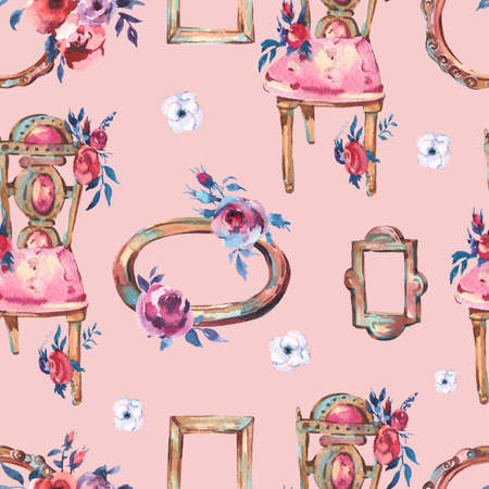 Watercolor Seamless Pattern with Antique Golden Wooden Frame, Flowers, Chair, Hand Painted Vintage Illustration on Pink Background. Floral Design Collection
