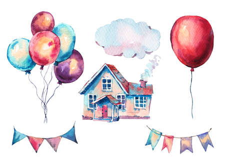 Watercolor Set of Fantasy House, Garlands and Colorful Air Balloons Elements. Hand Drawn Sweet Home Illustration, Air Balloons Isolated on White Background. Party Design Collection Reklamní fotografie