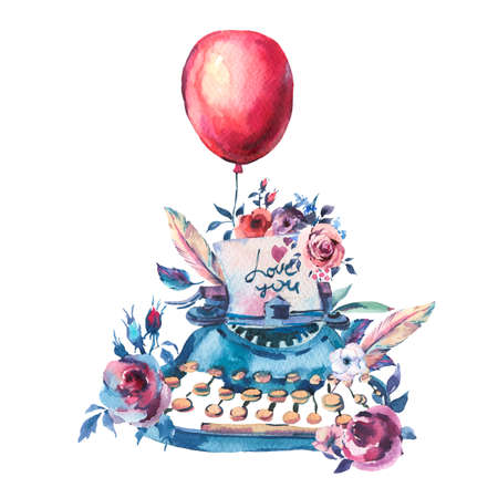 Vintage Watercolor Typewriter, Roses, Anemones, Feathers, Air Balloons and Wildflowers, Watercolor Illustration Isolated on White Background. Bohemian Design Collection Reklamní fotografie